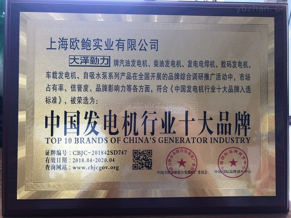 中国发电机行业十大品牌