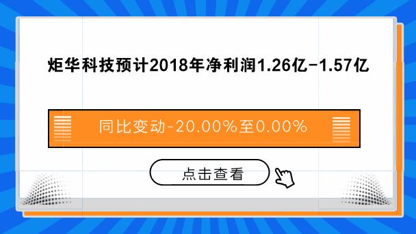 炬华科技预计2018年净利润1.26亿元-1.57亿元