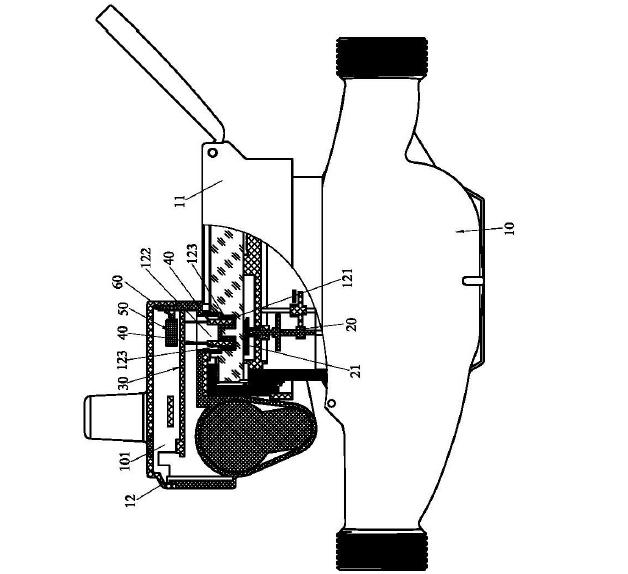 电路板上具有主控制器和水表计量模块,该水表计量模块连接主控制器;该