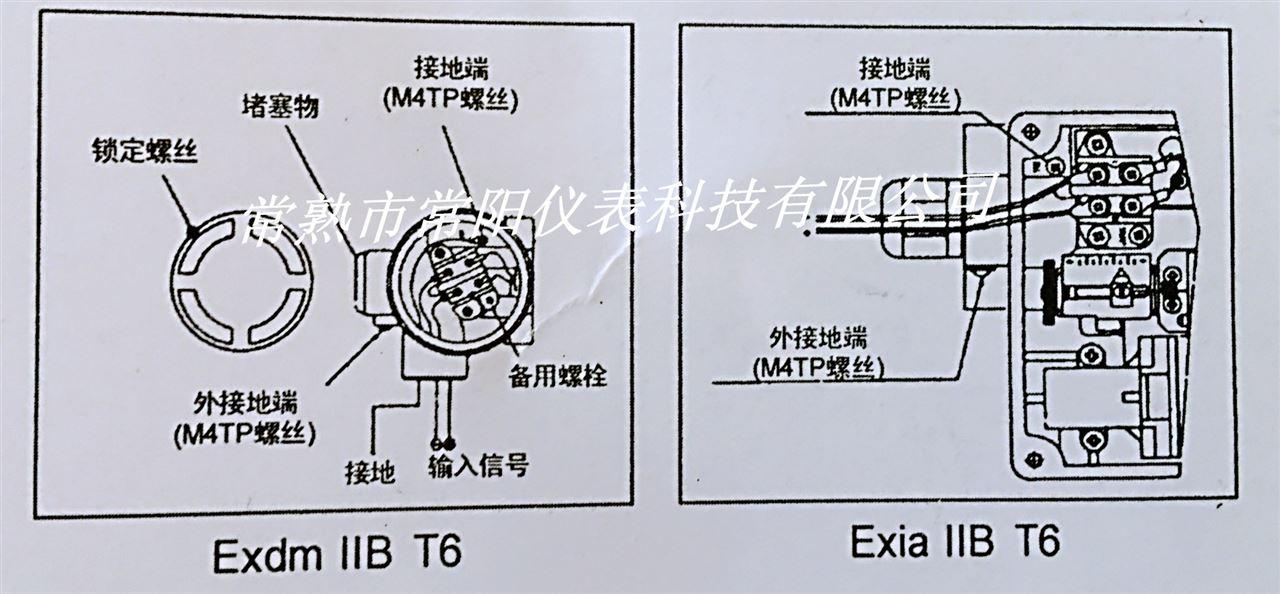 YT-1000L閥門定位器電氣連接Exdm T6 或EXIA  IIB  T6